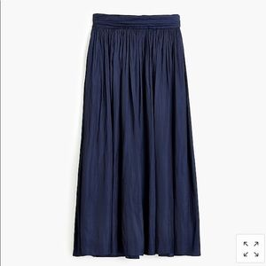 NWT! J Crew Point Sur NAVY Crinkled Maxi Skirt